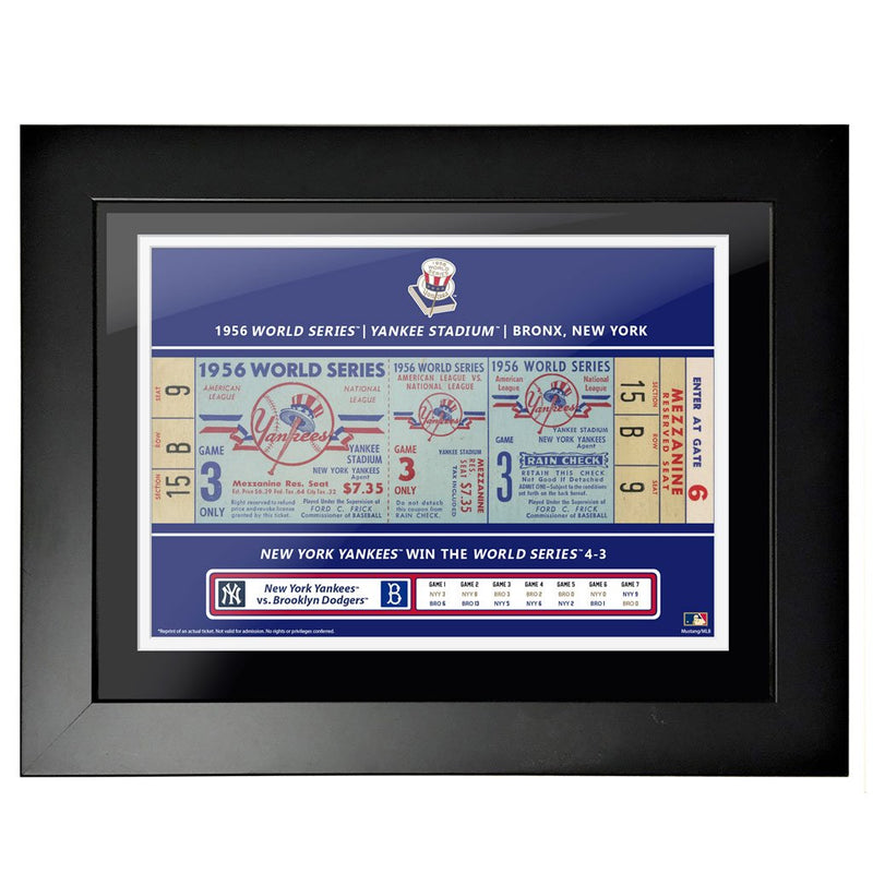 "12""x16"" World Series Ticket Framed New York Yankees 1956 G3"