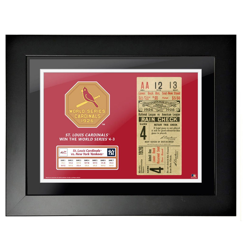 "12""x16"" World Series Ticket Framed St. Louis Cardinals 1926 G4"