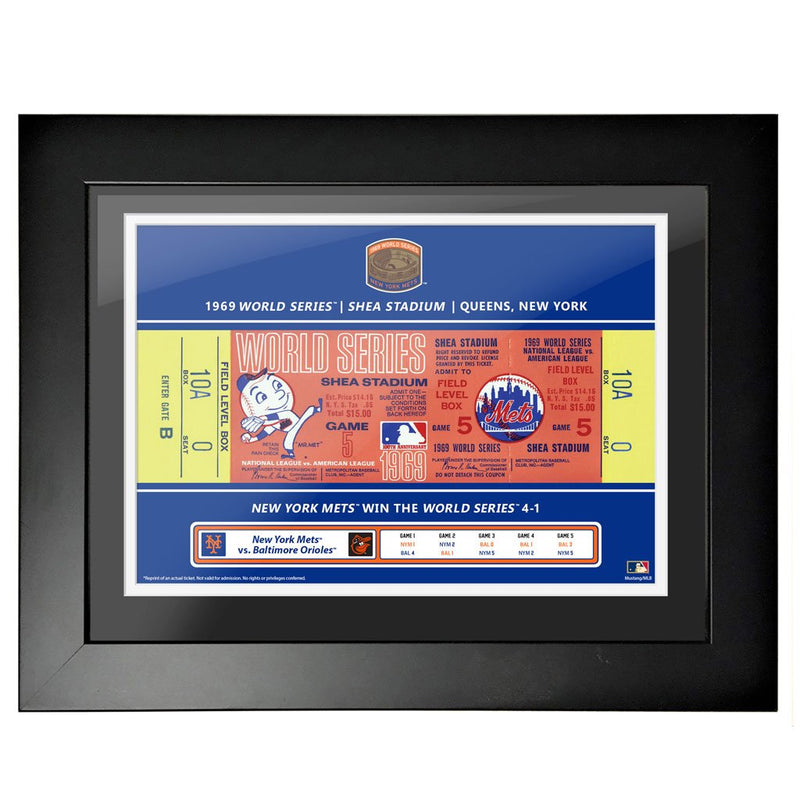 New York Mets 18x24 1969 Game 5 World Series Framed Ticket