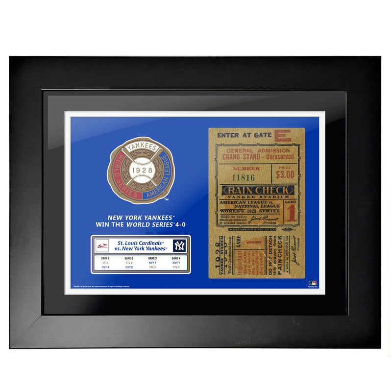 "18""x24"" World Series Ticket Framed New York Yankees 1928 G1"