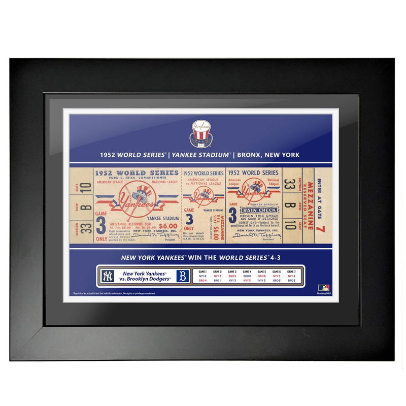 New York Yankees 18x24 1952 Game 3 World Series Framed Ticket