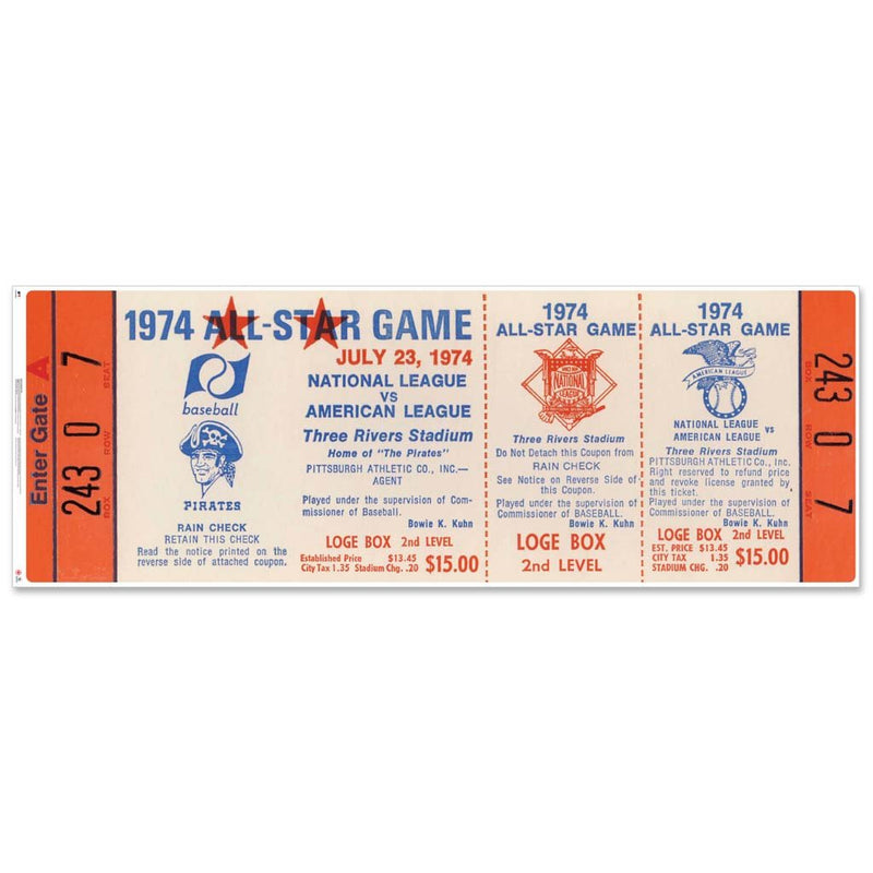 "48"" Repositional All Star Game Ticket - Pittsburgh 1974"