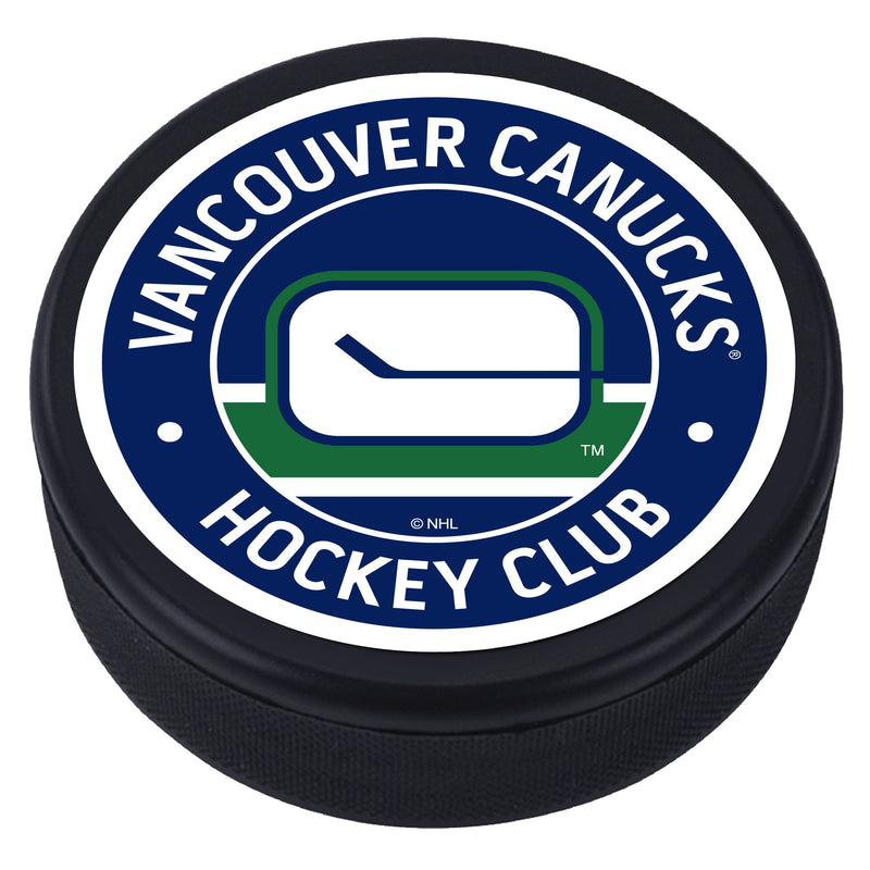 Vancouver Canucks Blue Vintage Striped Textured Puck