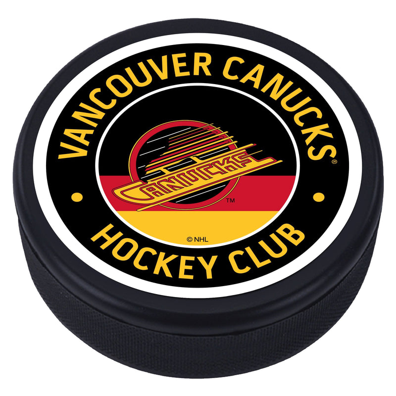 Vancouver Canucks Red Vintage Striped Textured Puck