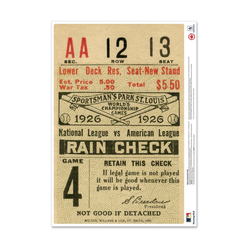 "24"" Repositionable W Series Ticket St. Louis Cardinals Right 1926G4R"
