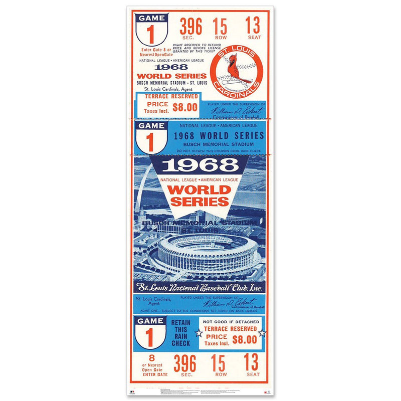 "St. Louis Cardinals 1968 Game 1 World Series Ticket 48"" Repositional Vinyl"