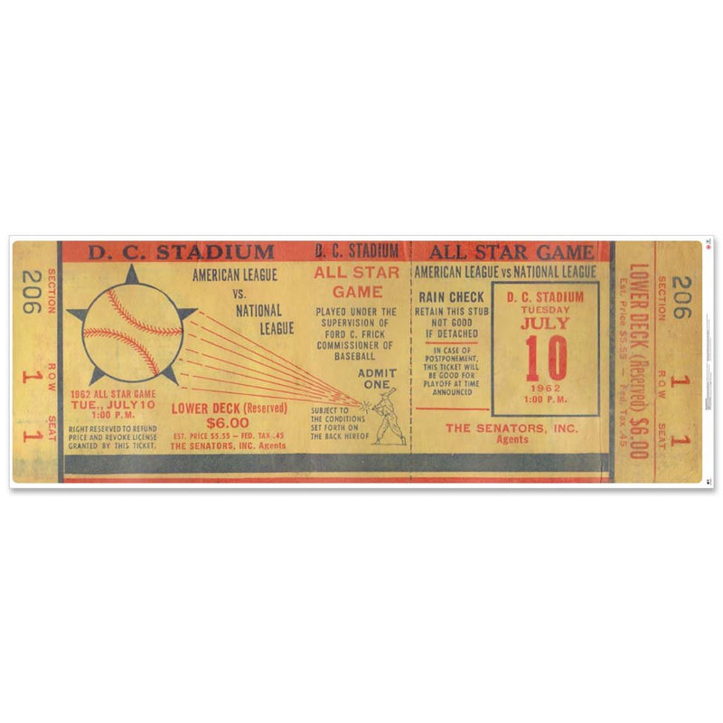 "48"" Repositional All Star Game Ticket - Washington 1962"