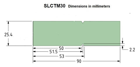 """For E LAB A & B model testers only. SLCTM30 is designed to allow long slicing cuts. This test media will allow blade sections up to 100mm (4.0"""") to be tested in a single pass using either the CNC10 or hand tests. Additionaly, the effects blade geometry on the cut become more apparent as the depth of cut increases. Sold in packs of 50 but yields 100 test measurements by simply flipping the test media over testing with the unused side. This test media, in conjunction with the SLCF slice fixture , is suitable  for both  push cut and slicing cut tests. SLCTM20 is 0.25mm (.010"""") thick, tear propagation resistant, and composed of  a blended plastic compound."""