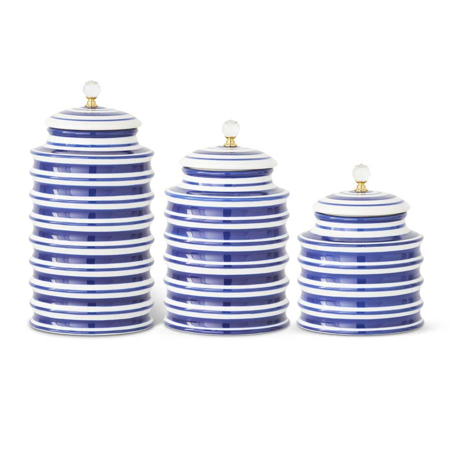 Blue & White Ribbed Canisters