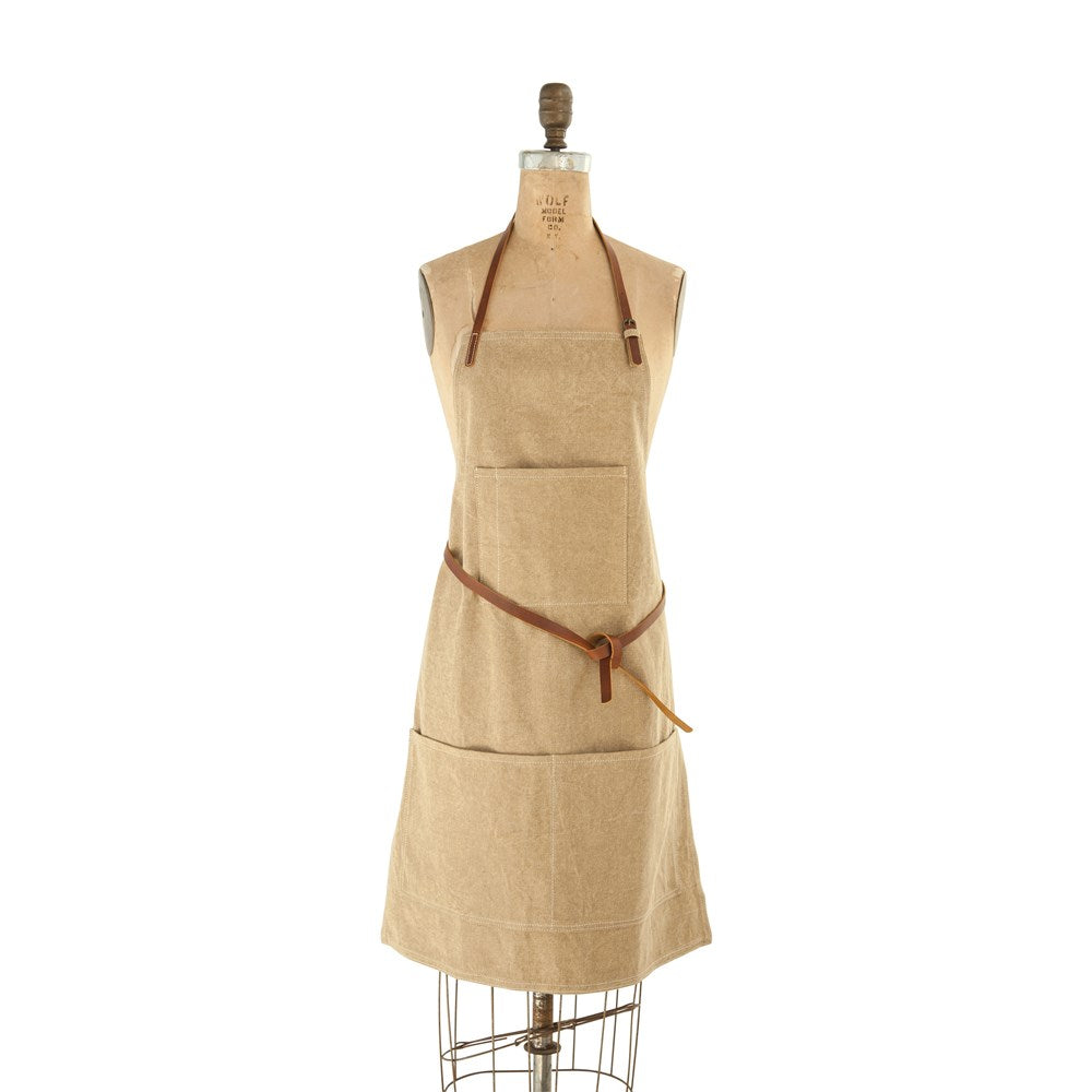 Canvas Apron with Leather