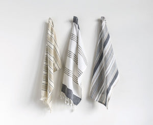 Gray & White Tea Towels