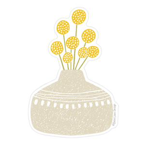 Craspedia Flower Vase Sticker