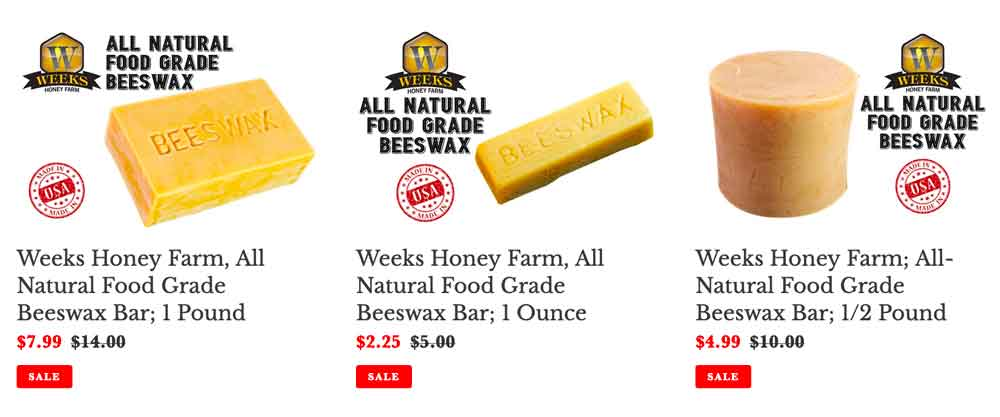 Purchase Beeswax at Weeks Honey Farm. Food Grade.