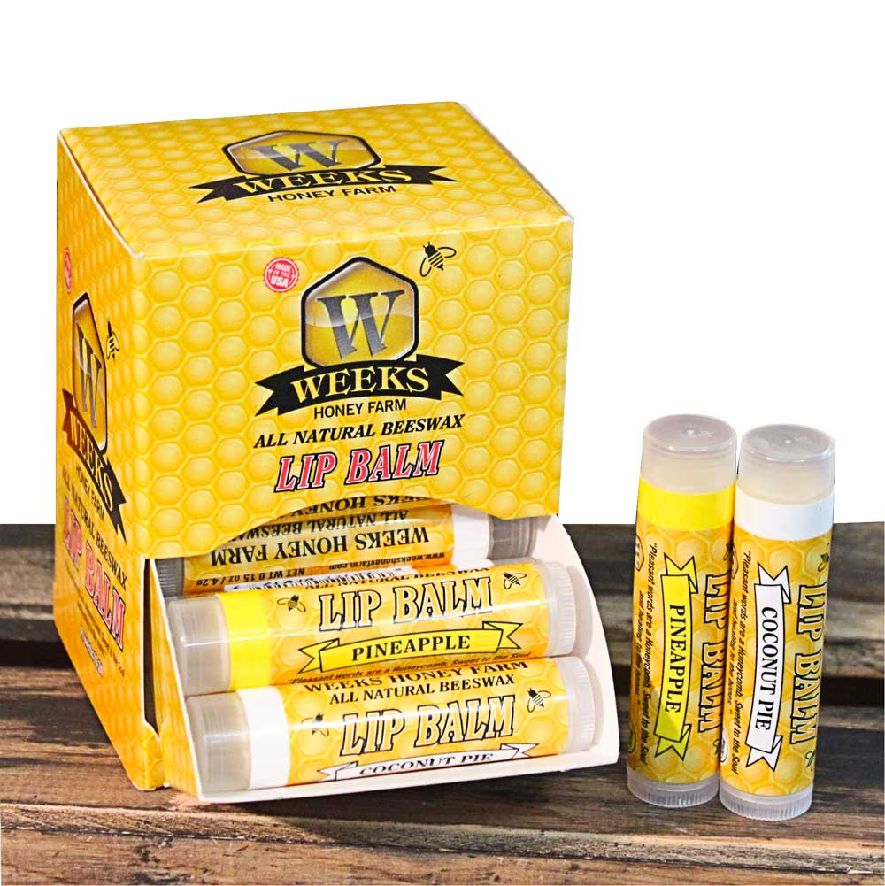 Weeks Honey Farm, Pineapple/Coconut All Natural Beeswax Lip Balm; 24 Count Dispenser - Weeks Honey Farm, Inc.