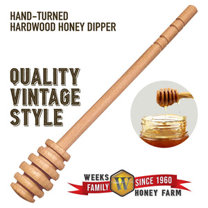 Weeks Honey Farm Vintage Wooden Honey Dipper; 6.5 inch - Weeks Honey Farm, Inc.