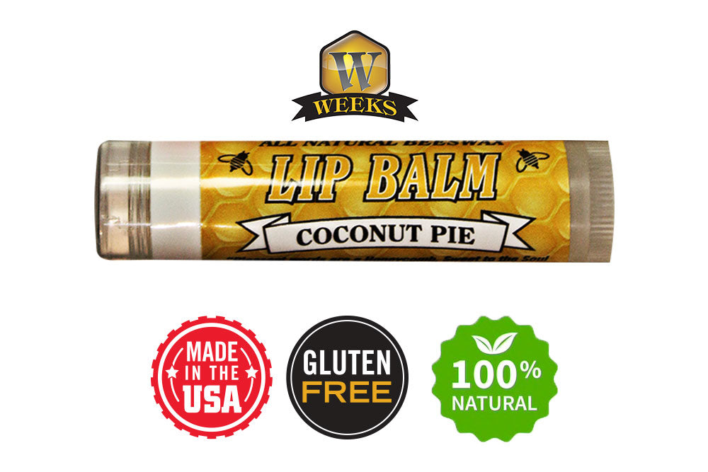 Weeks Honey Farm; Coconut Pie All Natural Beeswax Lip Balm; Ultimate Hydration, Vitamin E, UV Protection, 100% Chemical Free; Made in USA - Weeks Honey Farm, Inc.