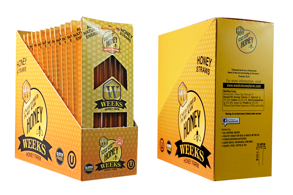 24 Pack of Weeks Honey Farm; Orange Blossom Honey Straws; 12 Count - Weeks Honey Farm, Inc.