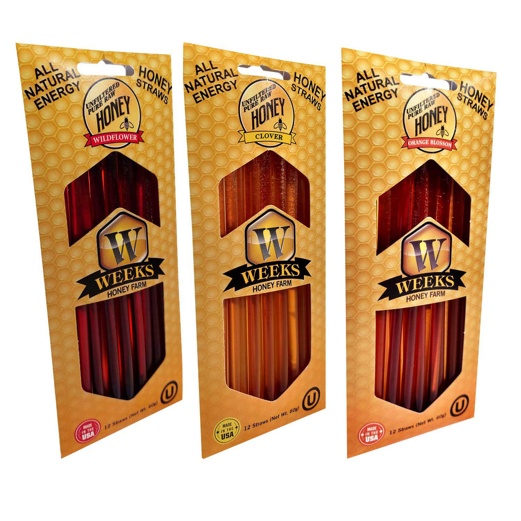 VARIETY 3 Pack of Weeks Honey Farm Honey Straws; 36 Straws - Weeks Honey Farm, Inc.