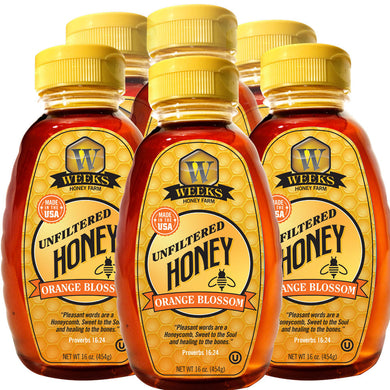 Case of Weeks Honey Farm; Orange Blossom Honey; 16 Ounce - Weeks Honey Farm, Inc.