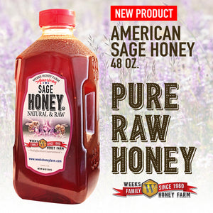 Weeks Honey Farm; American Sage Honey; 48 Ounce - Weeks Honey Farm, Inc.