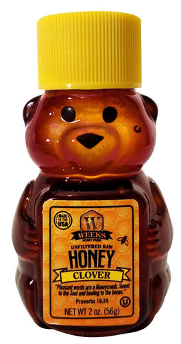25 Pack of Weeks Honey Farm; Clover Bears; 2 Ounce - Weeks Honey Farm, Inc.