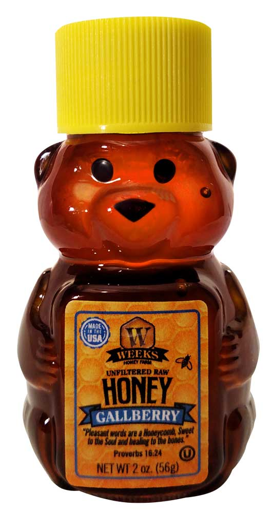 Weeks Honey Farm; Gallberry Honey Bear; 2 Ounce - Weeks Honey Farm, Inc.