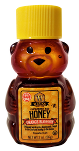4 Pack Sample of Weeks Honey Farm; 2 Ounce Each Clover, Gallberry, Orange Blossom, and Wildflower Raw Honeys - Weeks Honey Farm, Inc.
