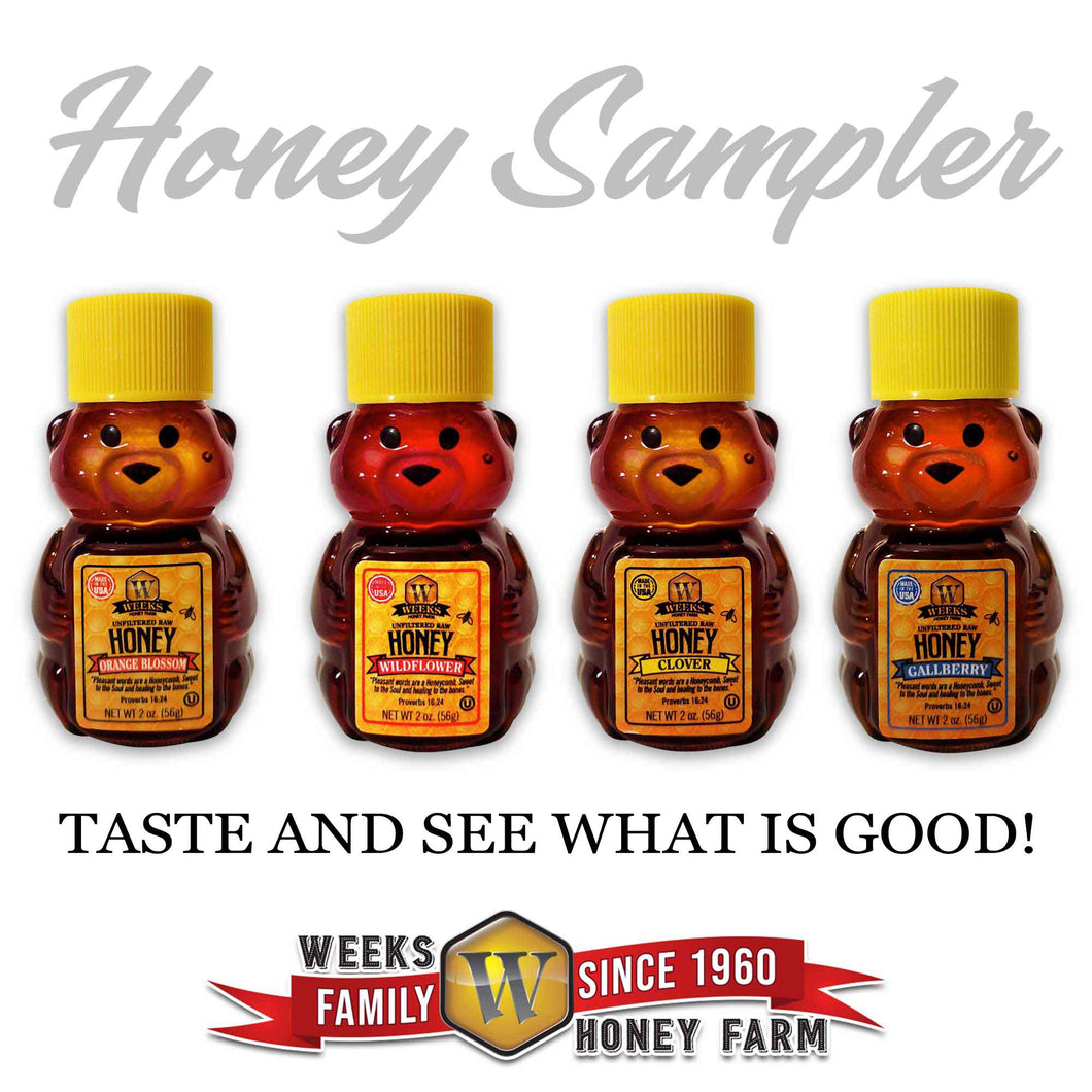 4 Pack Sample of Weeks Honey Farm; 2 Ounce Each Clover, Gallberry, Orange Blossom, and Wildflower Raw Honeys