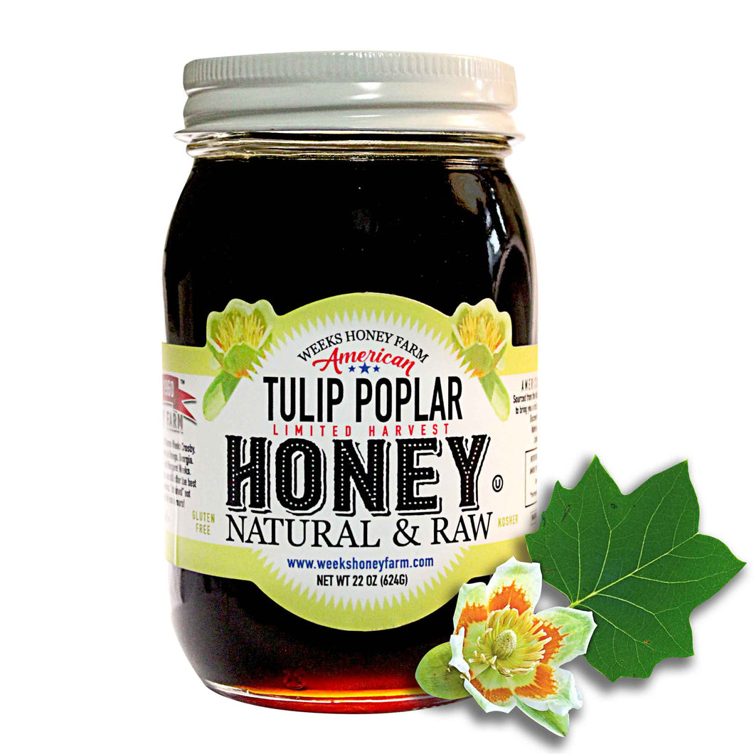Weeks Honey Farm Tulip Poplar Honey- Glass Jar; 22 Ounce - Weeks Honey Farm, Inc.