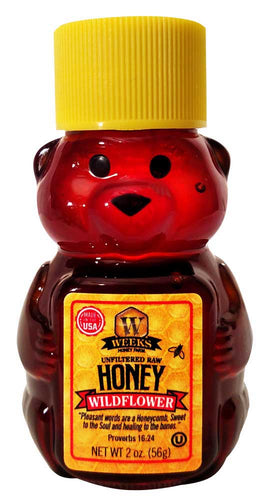50 Pack of Weeks Honey Farm; Wildflower Bears; 2 Ounce - Weeks Honey Farm, Inc.