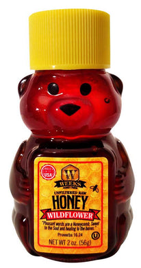 Weeks Honey Farm; Wildflower Honey Bear; 2 Ounce - Weeks Honey Farm, Inc.