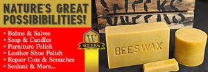 6 Pack - Weeks Honey Farm, All Natural Food Grade Beeswax Bar; 1 Ounce