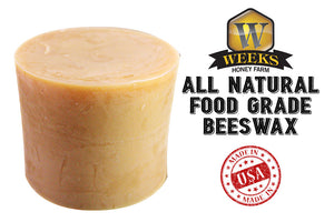 Weeks Honey Farm; All-Natural Food Grade Beeswax Bar; 1/2 Pound - Weeks Honey Farm, Inc.