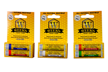 Load image into Gallery viewer, 3 Packs of Weeks Honey Farm; (Twin Pack) All Natural Beeswax Lip Balms; 6 balms total - Weeks Honey Farm, Inc.