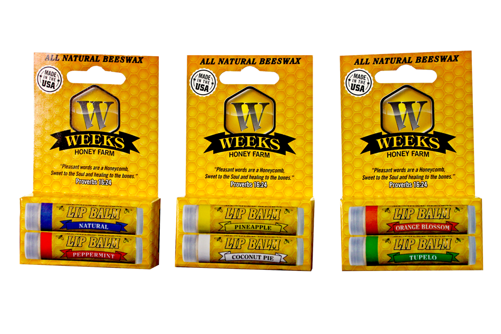 3 Packs of Weeks Honey Farm; (Twin Pack) All Natural Beeswax Lip Balms; 6 balms total - Weeks Honey Farm, Inc.