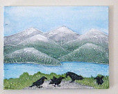 Landscape with crows original acrylic painting. Crow's picnic.