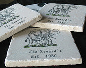 Personalized Elephant Tile Coasters, Set of 4