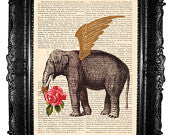 Elephant and red rose- ORIGINAL ARTWORK in Mixed Media, art print page book , Hand painted elehpant print