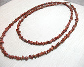 Brown Goldstone necklace long semi precious stone necklace