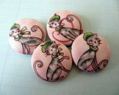 Bonjour 4 cats in Paris handmade fabric covered buttons 1 1/8 inches