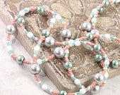 Pink Badge Lanyard Green ID Holder White Badge Holder Office Fashion Gray ID Necklace Pearl Lanyard Summer Mint Badge Leash