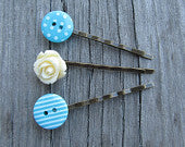 Decorative hair pins bobby pins flower bobby pin button hair pin rose turquoise gift ideas for her fresh modern spring summer trends