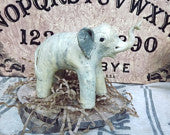 vintage clay elephant sculpture, handmade,  trunk up, good luck // rustic, feng shui home, child's room decor