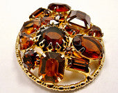 Vintage Brown Brooch / Smoky Topaz Glass Rhinestones
