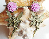 Fairy Bobbi pin set, pink cameos in bronze filigree settings with bronze fairy charms