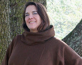 Chocolate Brown Fleece Poncho with Cowl Neck