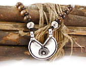 Ethnic Pendant Necklace, Brown Wood Necklace & Silver Tone Beads, Black Leather Cord