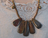 Necklace Pietersite Stone Antique Bells elephant clasp  Tribal Style Rich Browns, Great gift Idea