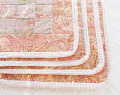 Peach Paisley Cottage Style Quilted Square Placemats,Set of 4, Mug Rugs, Spring, Summer, Coasters, 9 Patch, Quilts, Custom Order
