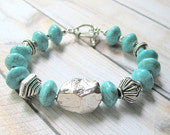 Turquoise  Bracelet - Southwestern - Reconstituted Turquoise - Sterling Silver - Beaded Gemstone Jewelry
